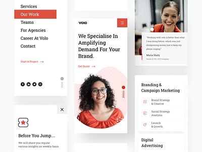 Agency mobile responsive UI visual design exploration agency design details feedback newsletter menu figma mobile design responsive uidesign trendy interface ui