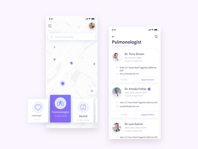 Interface design for doctor appointment minimal trendy clinic specialist experiencedesign user design application search health appointment doctor medical ios ui ux app