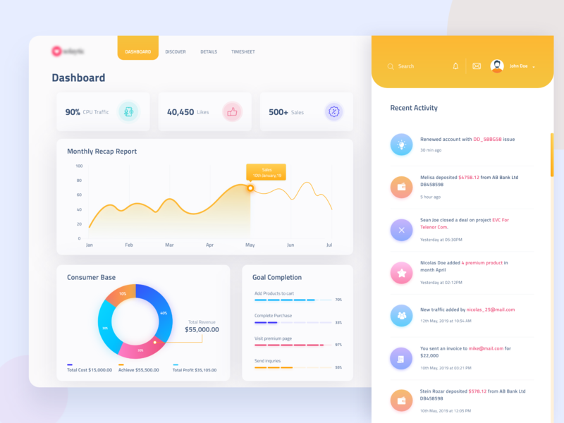 Management dashboard - Tracking uidesign data yellow recent activity statistics iconography adobexd trendy design interface gradient ux ui minimal tracking management dashboad