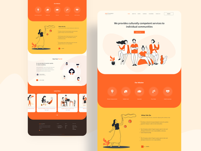 Non profit organization landing page header user interface service landingpage webdesign ux colorful characterdesign adobexd typography branding icongraphy illustration uidesign trendy minimal interface design organization