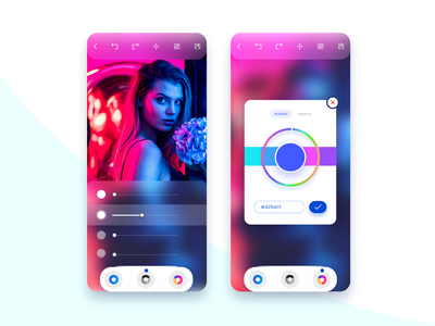 Photo Editing App Interface mobile minimal trendy icongraphy uidesign art editing interface adobexd design ui app