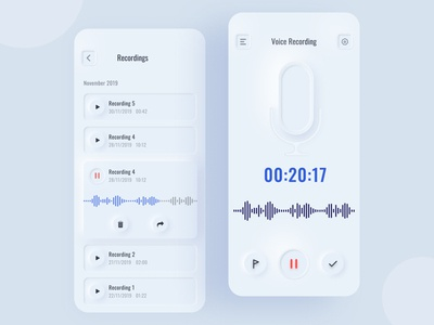 Voice Recorder Interface rebound microphone card design effect shadow application figmadesign ux figma voice call minimal design uidesign trendy ui app interface record