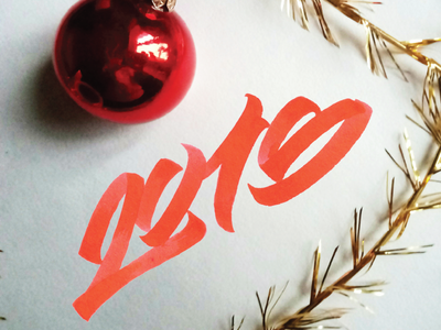 Hello 2018! calligraphy lettering handmade font hand writting hand lettering logo typo typography brush 2018 happy new year brushpen