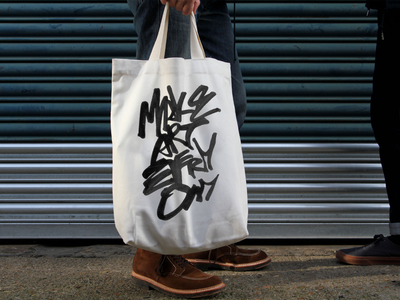 Make art everyday Tote Bag fashion ink tote bag totebag graphic  design behance project print apparel print brushpen brush handwritting inspiration hand writting typo typography logo hand lettering handmade font lettering calligraphy