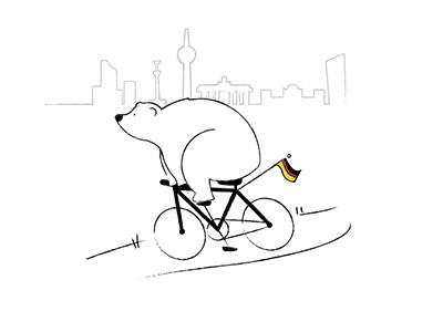 Bear by bike bear berlin illustration