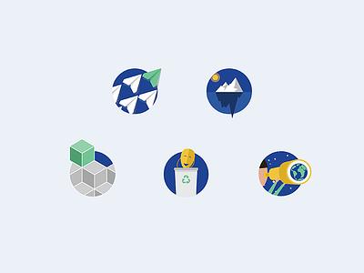 Badges - company values illustrations icons badges