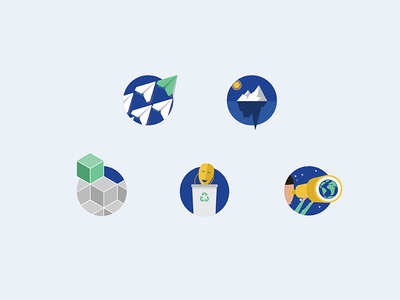 Badges - company values illustrations icons badges