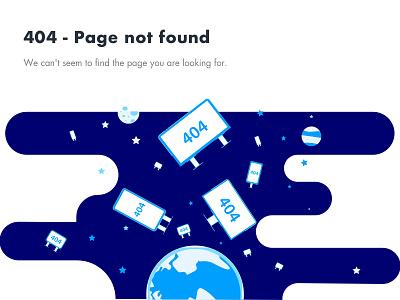404 - Page not found billboard word blue error page 404