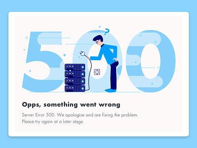 500 - Error Page illustration blue server problem error page 500