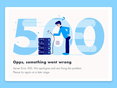 500 - Error Page illustration blue server problem error page 500