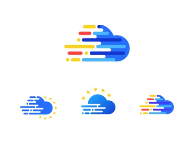 Logo variation european data cloud mark identity brand logo