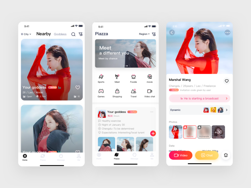 Social app interface design square red icon female chat
