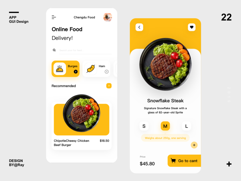 Gourmet ordering interface yellow steak product details icon food