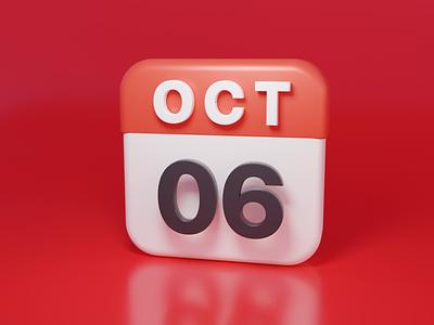 Calendar icon design blender icon 3d ui
