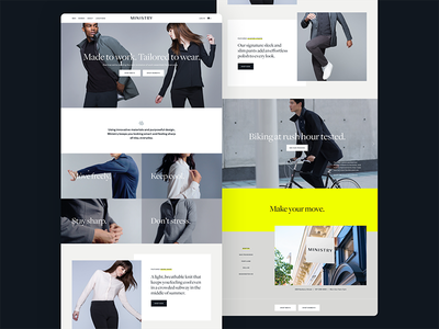Ministry branding womenswear menswear e-commerce web design ui
