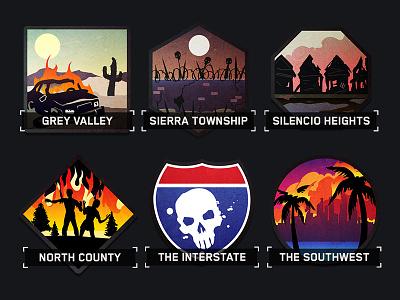 Zombie Gunship Survival - region icons