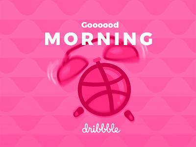 Hello, Dribbblers. studio design dribbble morning infographics alarm clock vector first shot