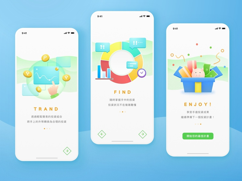 #023 - Onboarding mobile ui ui challange daily ui finance portfolio investment analysis financial trand login start illustration onboarding clean green