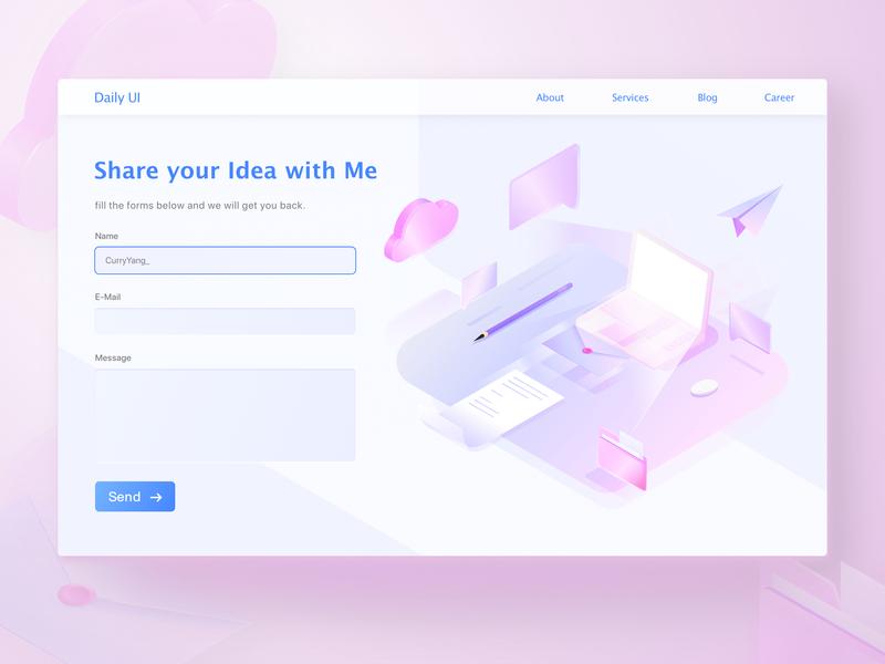 #028 - Contact Us send contact us illustrator isometric design isometric vector design webdesign pink illustration ui daily ui