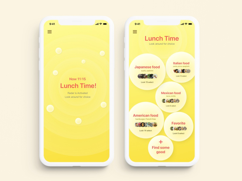 #029 - Food Map search food map radar bubble lunch yellow food map ui challange mobile interface principle animation daily ui ui