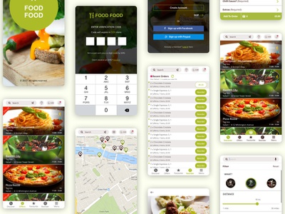 Food Market - Mobile App Views ui user research prototyping wireframing ux information architecture