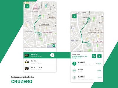 Bus Routes - Cruzero App locations map transit app design ui design cruzero green transport application app ui