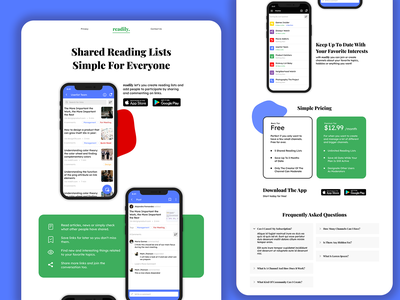 readily. - Landing Page Exploration homepage landing typography blobs colorful minimal pricing plans app showcase features pricing app website ui web