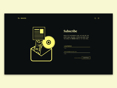 Sign up page - WAVE Mailing list branding design typography vector illustration daily dailui ui minimal website web flat