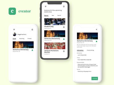 Eventor - Event Tracking App app branding ui  ux dailyui website web design ui