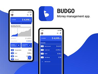 BUDGO - Money/Budget Management App ux blue android ios app design mobile app design logo ui  ux branding icon app mobile app mobile ui minimal ui