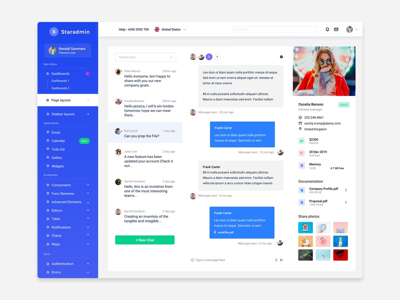 Staradmin Inbox crm cards table components analytical website admin template sidebar flat ui ux chart graph webapp bootstrap 4 chat app email bootstrap message dashboard