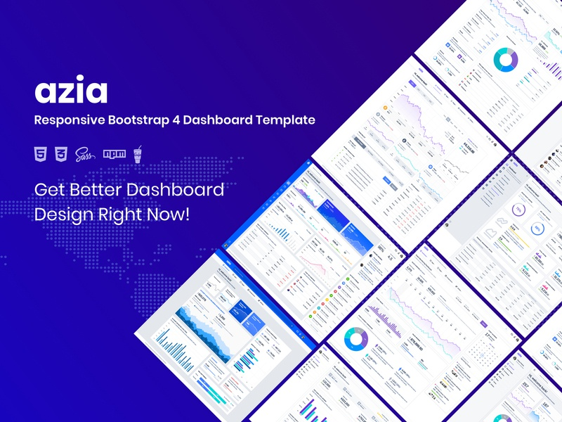 Azia Admin Dashboard template pie chart cards app crm admin template admin panel bootstrap table sidebar components website analytical flat ui ux chart graph product webapp
