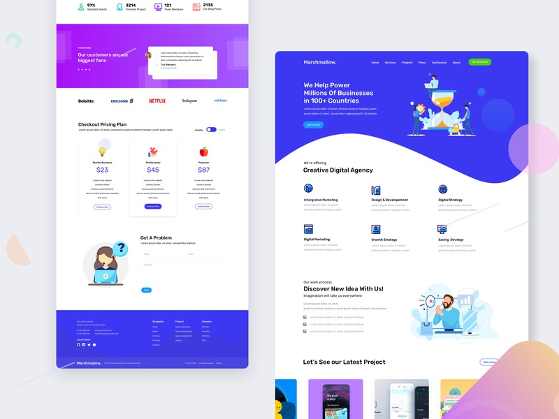 Marshmallow user experience ilustration website concept vector interface design concept page site landing page free landing page design website design ux design ui bootstrap 4 website webapp