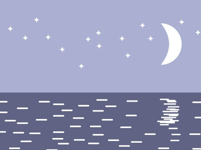 Sweet Dreams stars nighttime night sweet dreams dreams sea ocean moon beach illustrator illustration