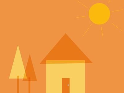 Home Sweet sunshine modern illustration house home