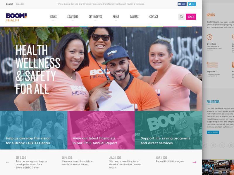 BOOM!Health Website Redesign new york color marketing web health