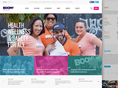BOOM!Health Website Redesign new york color marketing web health