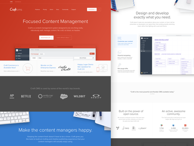 Craft CMS Homepage Redesign developers design content homepage ui red web marketing craft cms