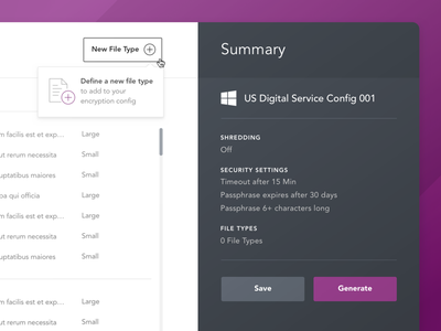 New File Type gray purple summary popover button add new file