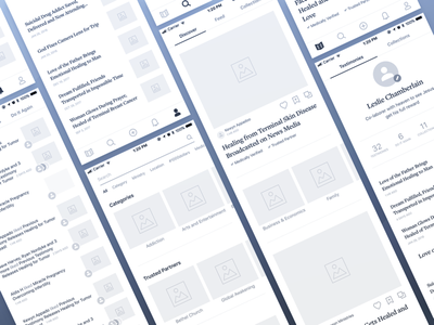 App Wireframes blue gray notifications profile list mobile wireframes app