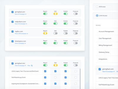 User Permissions expand table ux ui checkbox toggle green blue permissions user