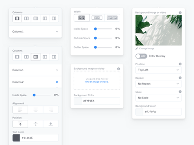 Section Popovers section column dials expand position background image alignment spacing popover form design form ux ui