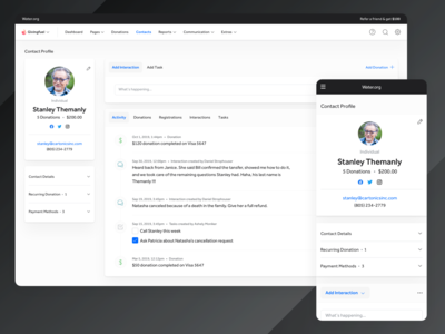 New CRM - Contacts, Interactions and Tasks crm software ux ui form activity feed activity profile contact tasks interactions crm portal crm
