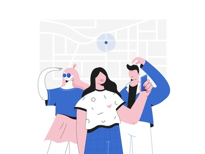 Lost in the city journey trip city guide city app location map ui character people vector illustration