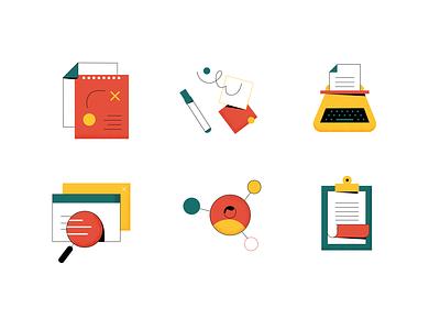Icon set user design illustration copywriting strategy branding vector content icon set icons