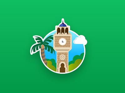 Izmir Clock Tower graphic illustration flat design icon izmir tower clock turkey