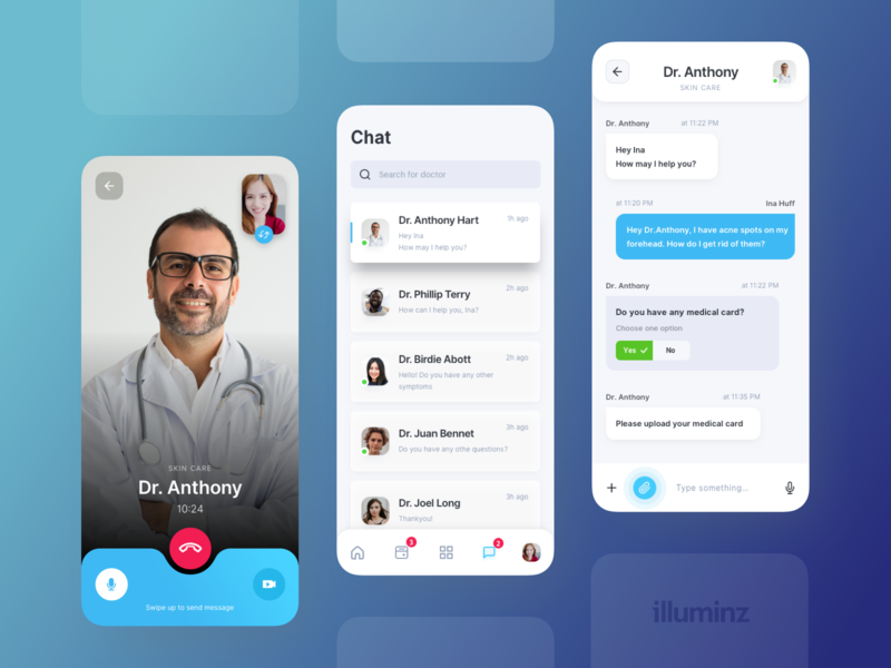 Telemedicine App - Call, Chat search mobile app design mobile ui ios mobile app chat call video chat video call health app health telemedicine medicine doctor ux app clean typography design ui