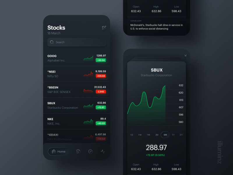 Stocks Mobile Application Design design trends black exchange graphic chart interface dark mode ios dashboad skeuomorph stocks uiux mobile app ux clean typography design ui