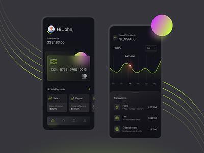 Finance Mobile App dark glassmorphism modern payment statistics banking transactions credit card financial app financial product design ios mobile app ux clean typography design ui charts