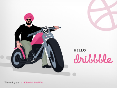 Hello Dribbble illustration bike singh sardar turban thankyou ball firstshot invitation design dribbble hello